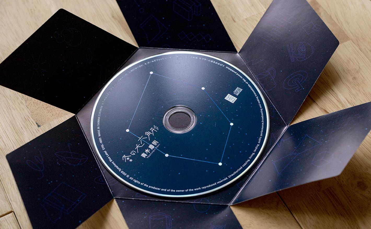 ミュージシャン青木慶則「冬の大六角形」のCDのデザイン、MVの企画制作を手がけました。<br /> <br /> CDパッケージはタイトル「冬の大六角形」にあわせ、1枚の紙を折り曲げると六角形になる特殊印刷を用いたデザインを採用しました。そしてMVは冬の星座をモチーフにした楽曲に合わせ、伊豆大島での星空観測を企画・撮影。カラーグレーディング、編集、モーショングラフィックまですべて社内で制作しています。